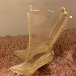 Perspex Clear Mid Boot Heels
